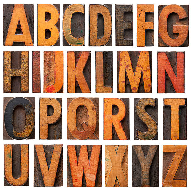 vintage wooden alphabet blocks - letterpress stock photos and pictures