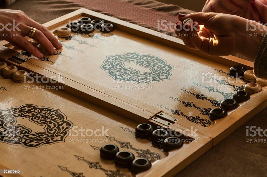 vintage wooden backgammon stock photo