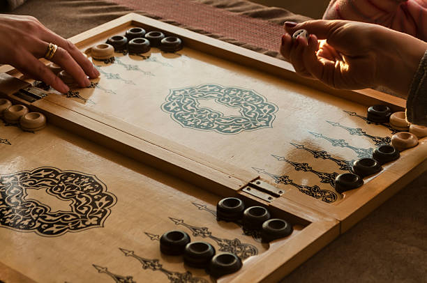 vintage wooden backgammon - backgammon stock pictures, royalty-free photos & images