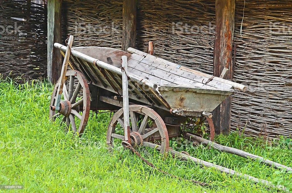 Vintage wooden cart royalty-free stock photo