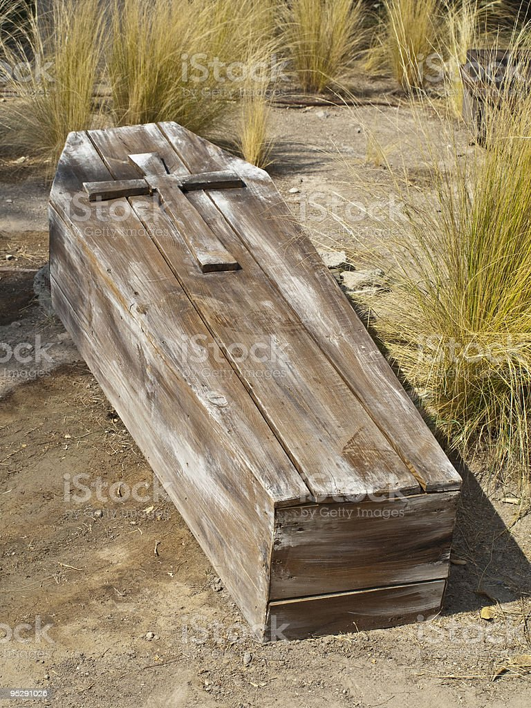 Vintage Wooden Coffin royalty-free stock photo