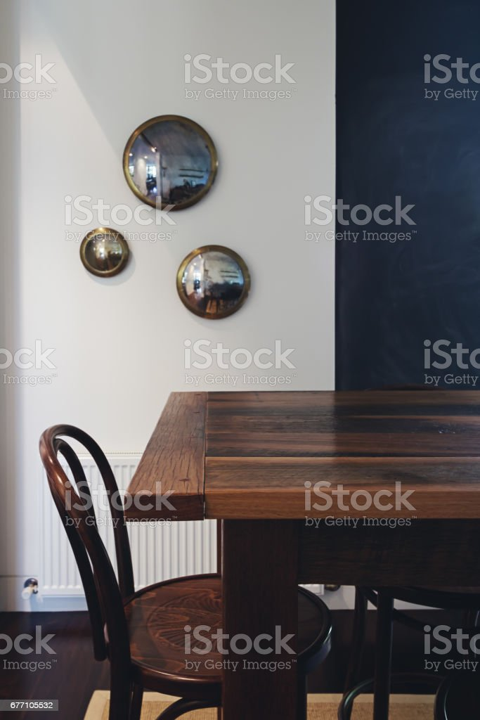 Vintage wooden dining chair and table restaurant or home interior...