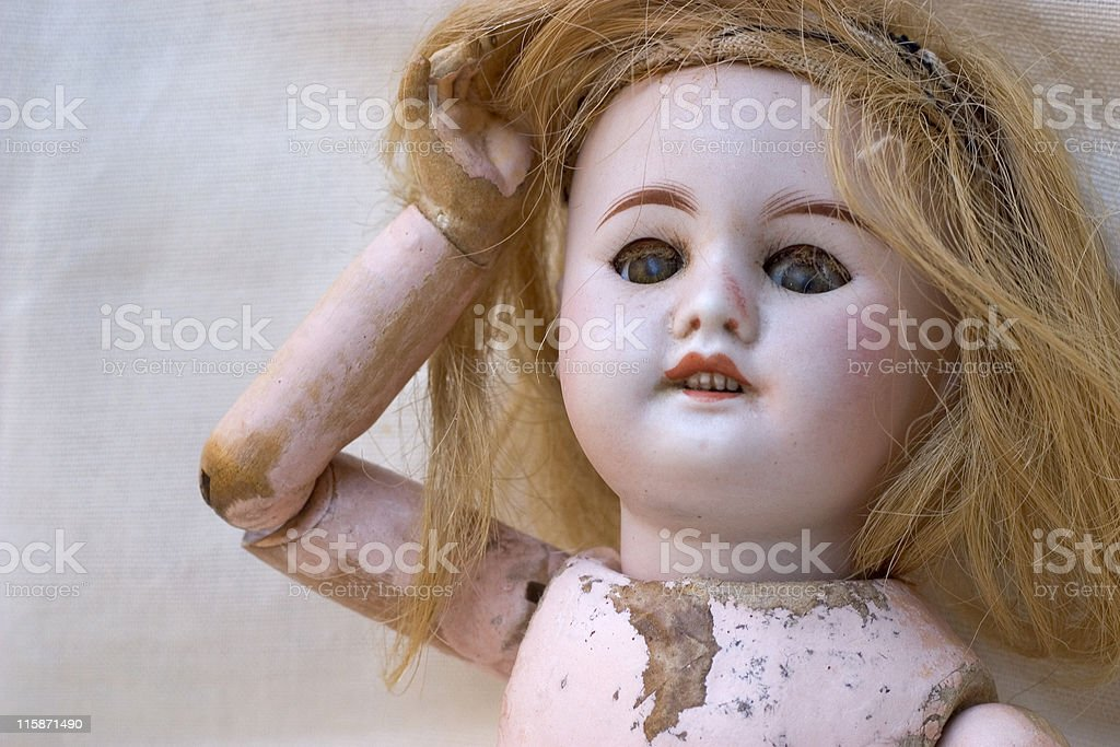 vintage wooden doll stock photo