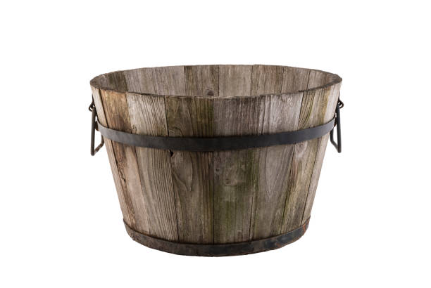 Vintage wooden flowerpot isolated on white background with clipping path stock photo