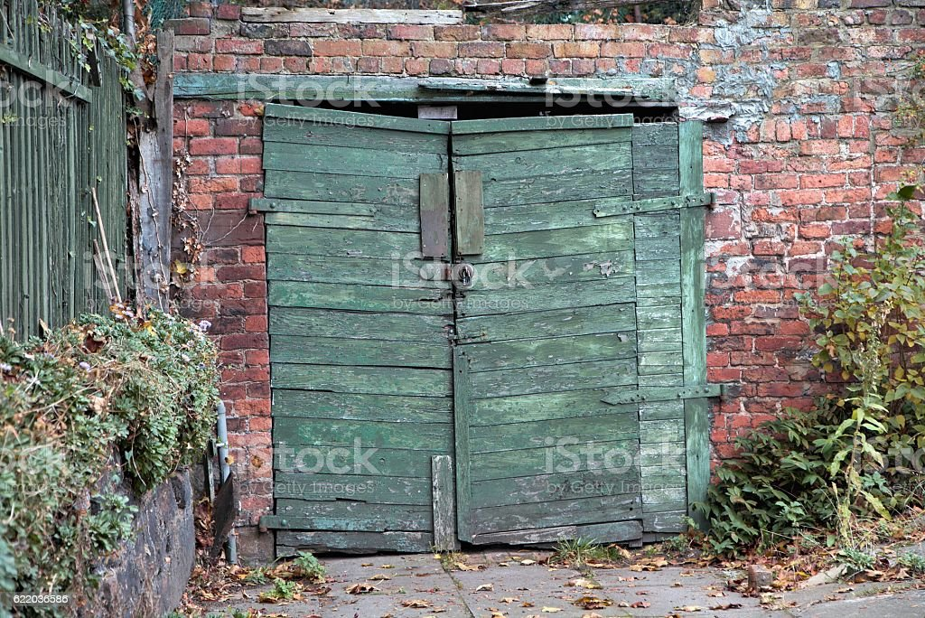 Vintage Wooden Garage Doors stock photo | iStock