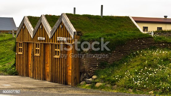 Vintage wooden gas station at Modrudalur farm in central Iceland