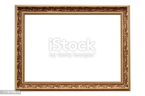 Template for your project - luxury golden classic painting frame isolated on a white background (high details)