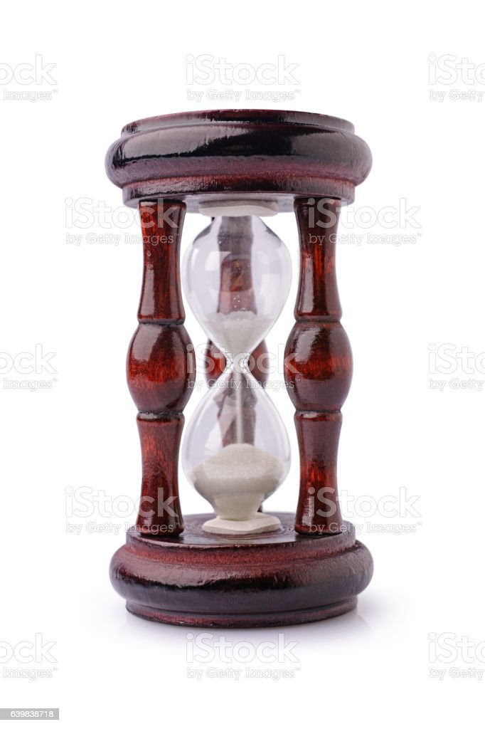 Vintage wooden hourglass stock photo