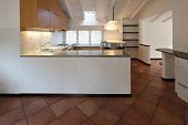 Vintage wooden kitchen and stools