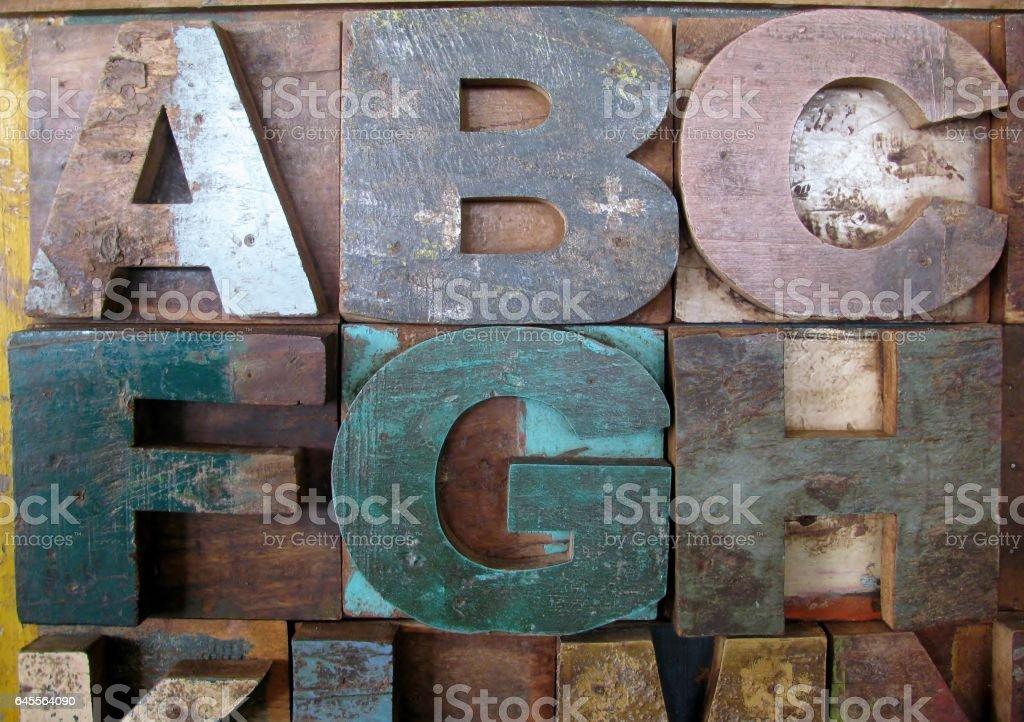Vintage wooden letterpress types. Letters A, B, C, F, G, H. stock photo