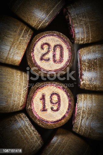 istock Vintage wooden lotto kegs with two numbers 20 and 19 as symbol of 2019 New Year 1087151418