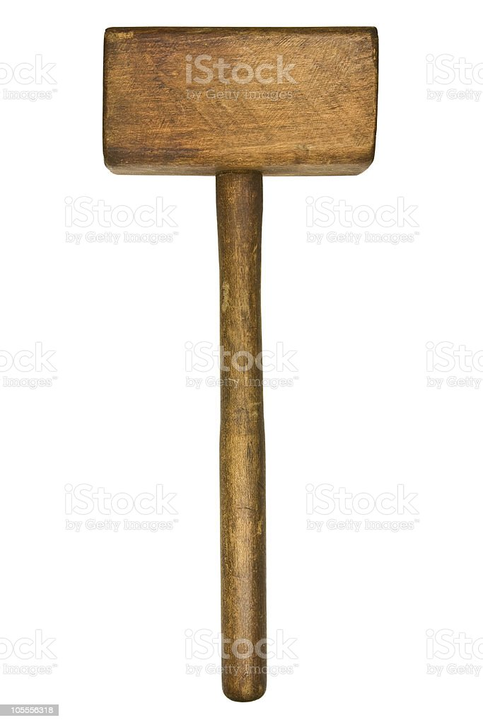 Vintage wooden mallet on white background stock photo