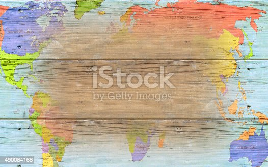 istock Vintage wooden map - background 490084168