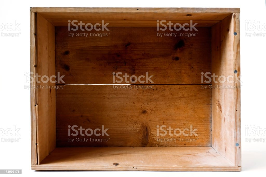 Vintage wooden open box on hvite background. stock photo