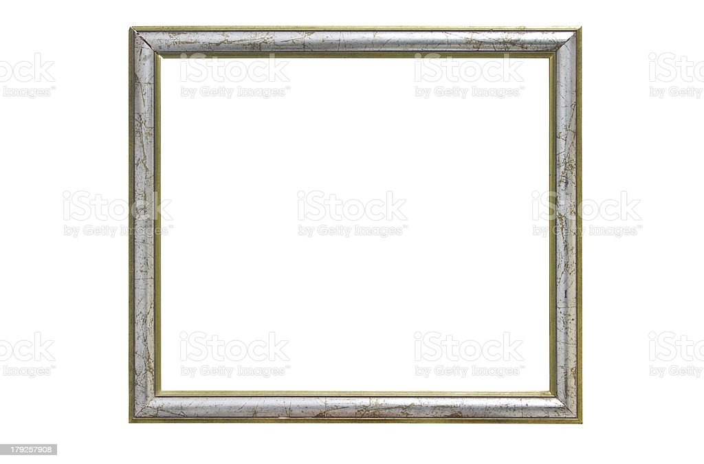 Vintage wooden picture frame isolated on white background. royalty-free stock photo