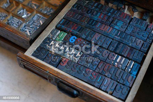 istock Vintage wooden printing press letters 464999956
