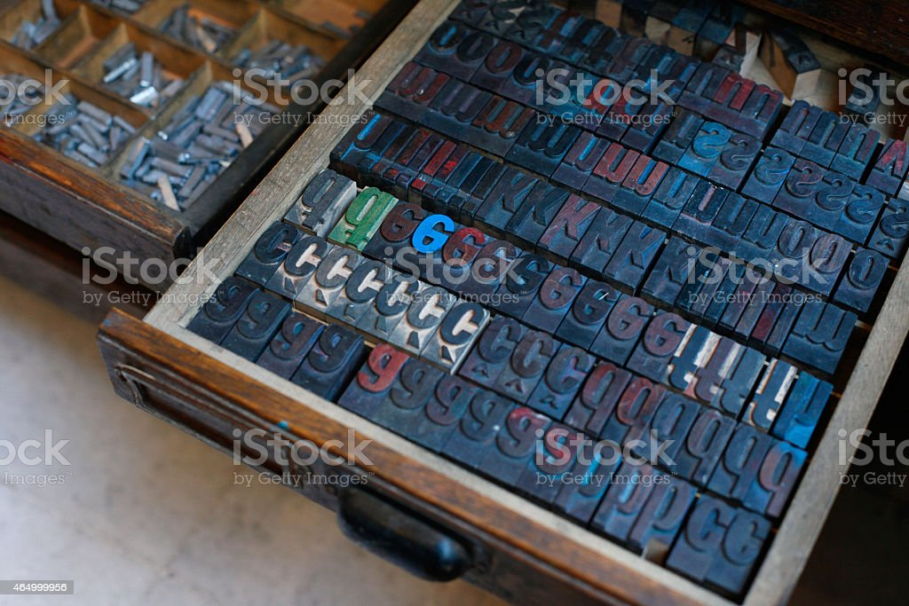 Vintage wooden printing press letters stock photo
