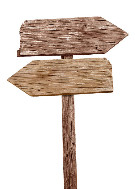 vintage wooden road sign pointing in different directions - road signs stock photos and pictures