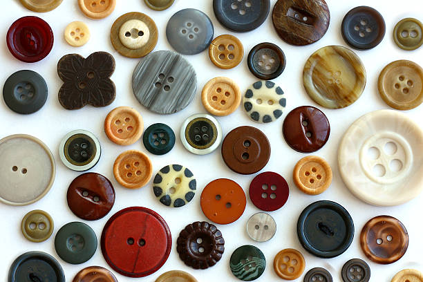 Vintage Wooden Sewing Button Collection Isolated on White stock photo
