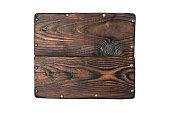 istock Vintage wooden signboard for information on metal rivets 1129903607
