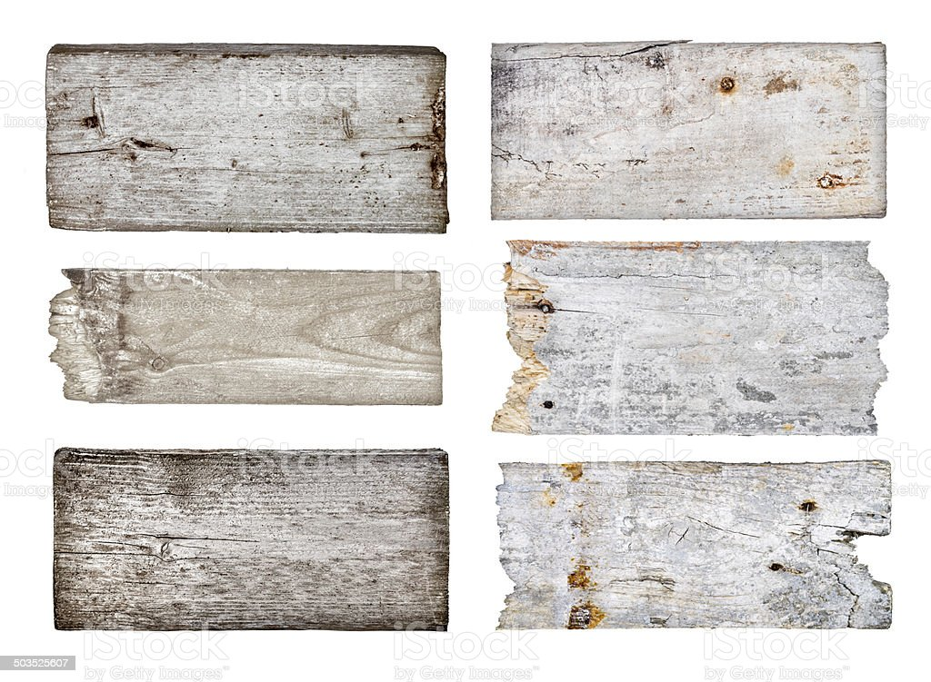 vintage wooden signs on the rope on an isolated white background stock photo