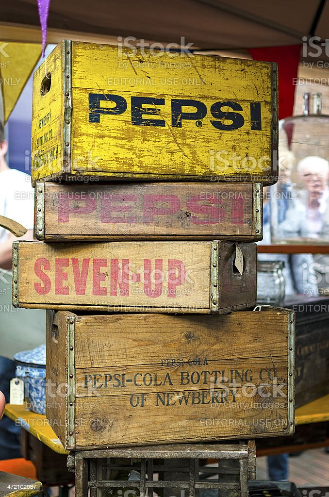 Vintage Wooden Soda Crates stock photo