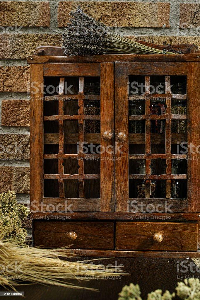 Vintage Wooden Spice Rack Or Storage Cabinet Stock Photo Download