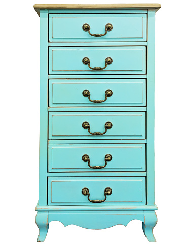 Vintage wooden turquoise chest of drawers isolated on white background. Chest of 6 six drawers.