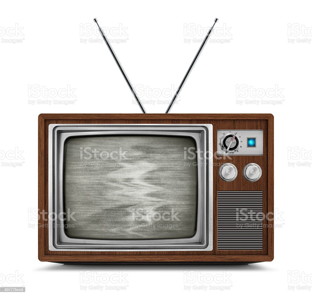 Vintage Wooden TV with Static stock photo