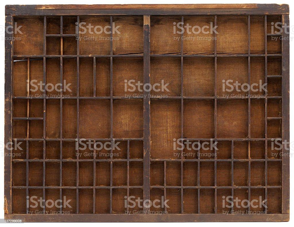 vintage wooden typesetter case stock photo