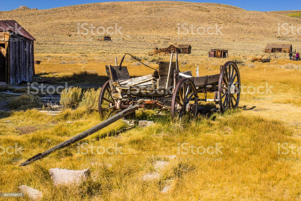 Vintage Wooden Wagon In California Ghost Town stock photo