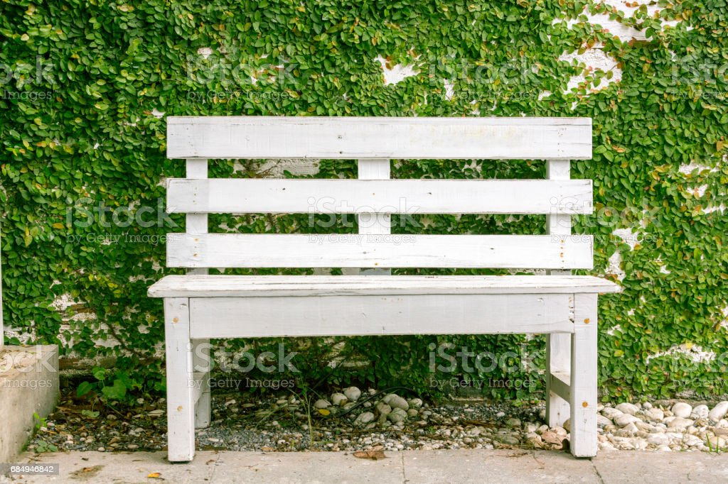 Vintage wooden white bench with ivy and white brick background, Concept of Vintage style. Lizenzfreies stock-foto