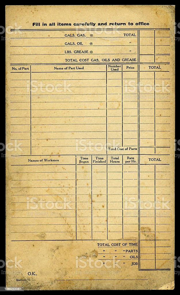 Vintage work card 1920 (XXXL) royalty-free stock photo
