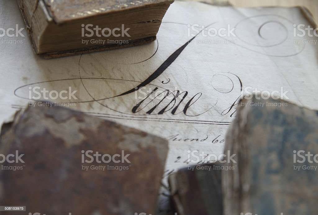 Vintage workbook page with books royalty-free stock photo