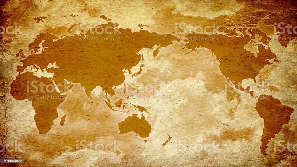 Vintage World Map on old paper stock photo