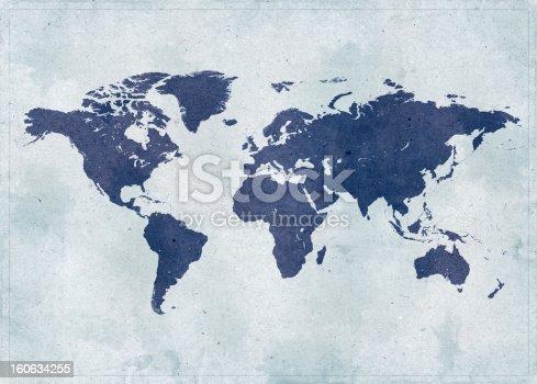 Old, vintage grunge paper world map.