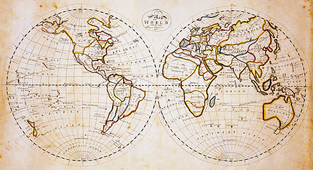 Vintage world map Old world map created 1811. Public domain map with minor digital enhancements. Twin hemispheres on grunge, stained, weathered paper.  equator stock pictures, royalty-free photos & images