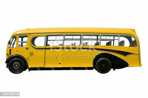 Vintage yellow school bus, isolated on white. With detailed clipping path.