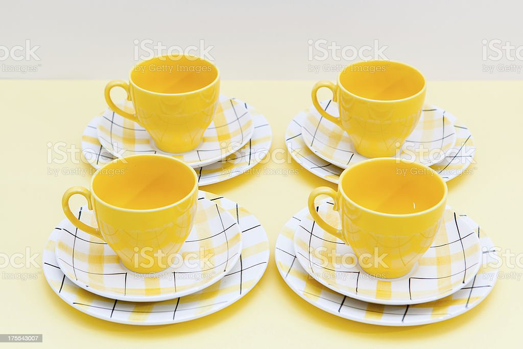 Vintage Yellow Check Tea Set On Formica Table Royalty Free Stock Photo