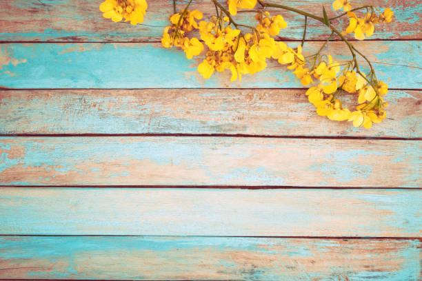 Vintage yellow flower stock photo