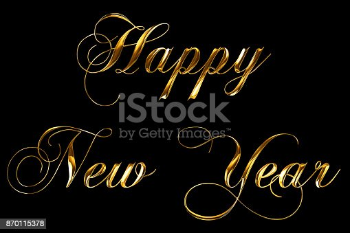 873333520 istock photo vintage yellow gold metallic happy new year 2018, 2019, 2020, 2021, 2022 word text with light reflex on black background with alpha channel, concept of golden luxury holiday happy new year 870115378