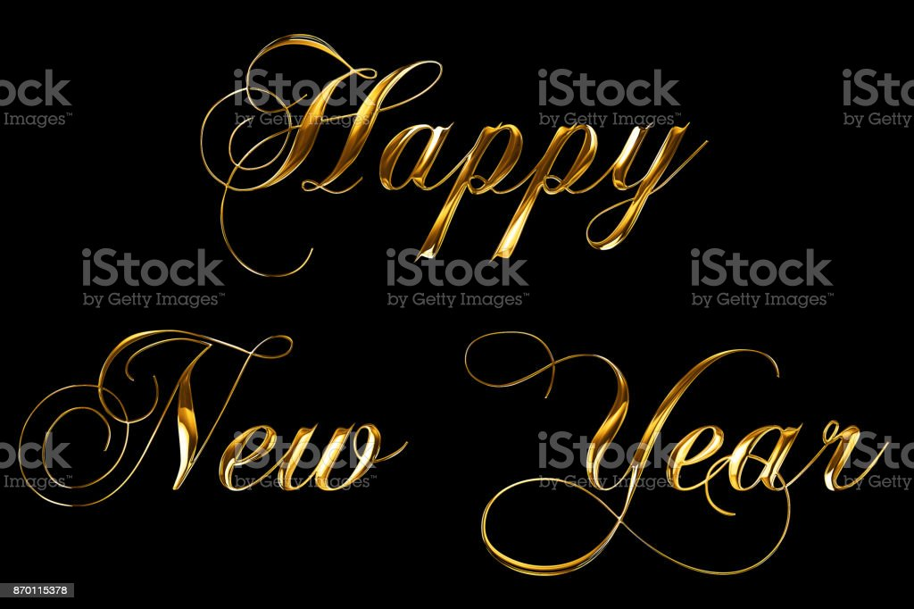 vintage yellow gold metallic happy new year 2018, 2019, 2020, 2021, 2022 word text with light reflex on black background with alpha channel, concept of golden luxury holiday happy new year stock photo