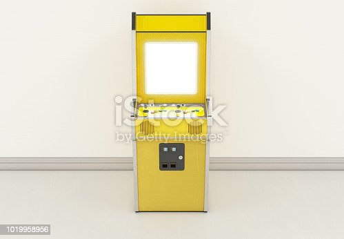 istock A vintage yellow unbranded arcade machine with a blank screen on a vintage room background - 3D render 1019958956