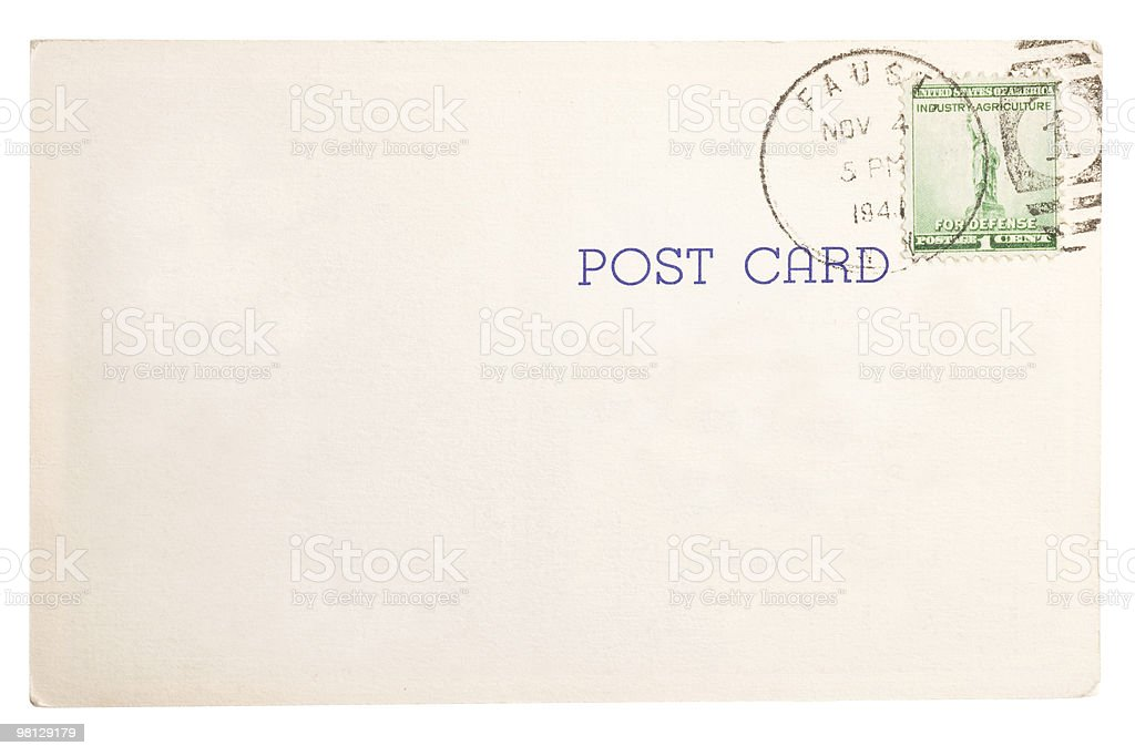 Vintage yellowed postcard royalty-free stock photo