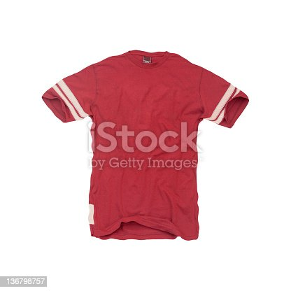 A vintage, red football jersey with a blank front -- isolated on a white background.