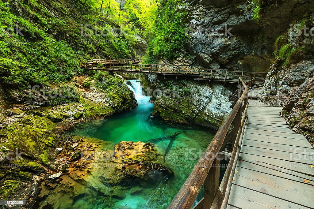 Vintgar gorge and green river,Bled,Triglav- Slovenia stock photo