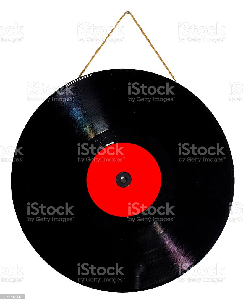 vinyl 33 rpm hanging with string as a picture stock photo