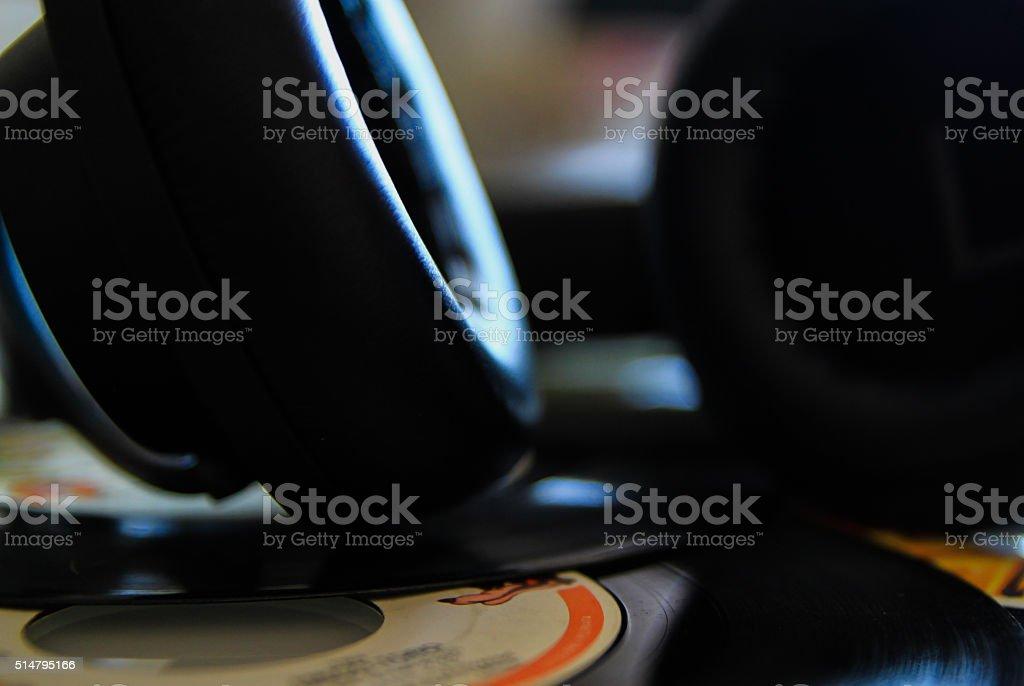 vinyl and earphone stock photo