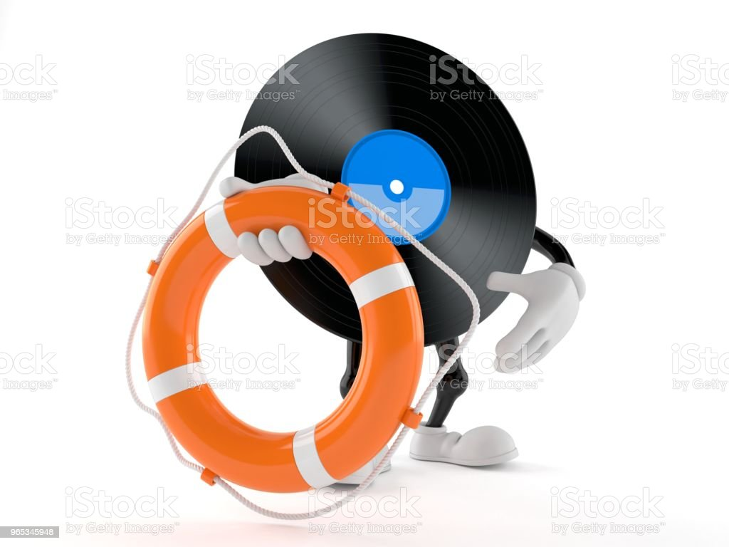 Vinyl character holding life buoy royalty-free stock photo