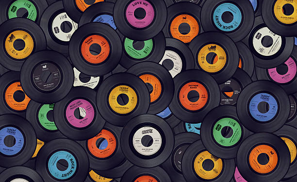 vinyl music records background - 1980s style stock photos and pictures